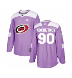 Men's Carolina Hurricanes #90 Pyotr Kochetkov Authentic Purple Fights Cancer Practice Hockey Jersey