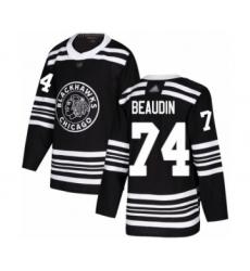 Men's Chicago Blackhawks #74 Nicolas Beaudin Authentic Black Alternate Hockey Jersey