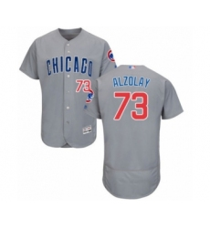 Men's Chicago Cubs #73 Adbert Alzolay Grey Road Flex Base Authentic Collection Baseball Player Jersey