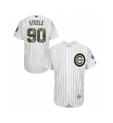 Men's Chicago Cubs #90 Justin Steele Authentic White 2016 Memorial Day Fashion Flex Base Baseball Player Jersey