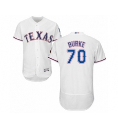 Men's Texas Rangers #70 Brock Burke White Home Flex Base Authentic Collection Baseball Player Jersey
