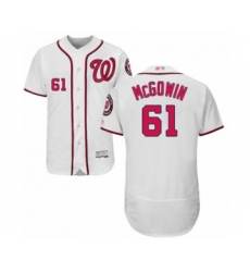Men's Washington Nationals #61 Kyle McGowin White Home Flex Base Authentic Collection Baseball Player Jersey