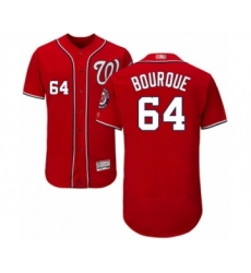 Men's Washington Nationals #64 James Bourque Red Alternate Flex Base Authentic Collection Baseball Player Jersey
