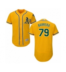 Men's Oakland Athletics #79 Luis Barrera Gold Alternate Flex Base Authentic Collection Baseball Player Jersey