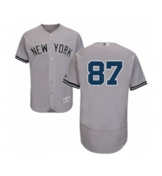 Men's New York Yankees #87 Albert Abreu Grey Road Flex Base Authentic Collection Baseball Player Jersey