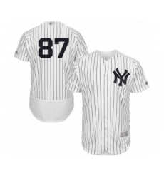 Men's New York Yankees #87 Albert Abreu White Home Flex Base Authentic Collection Baseball Player Jersey
