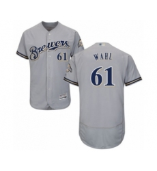 Men's Milwaukee Brewers #61 Bobby Wahl Grey Road Flex Base Authentic Collection Baseball Player Jersey