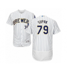 Men's Milwaukee Brewers #79 Trey Supak White Home Flex Base Authentic Collection Baseball Player Jersey