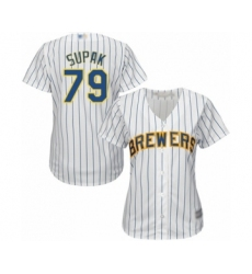 Women's Milwaukee Brewers #79 Trey Supak Authentic White Alternate Cool Base Baseball Player Jersey