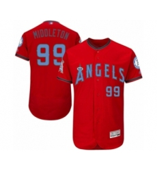 Men's Los Angeles Angels of Anaheim #99 Keynan Middleton Authentic Red 2016 Father's Day Fashion Flex Base Baseball Player Jersey