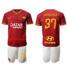 Roma #37 Spinazzola Red Home Soccer Club Jersey