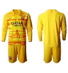 Roma Blank Yellow Goalkeeper Long Sleeves Soccer Club Jersey
