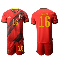 Belgium #16 Hazard Red Home Soccer Country Jersey