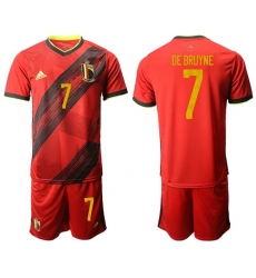 Belgium #7 De Bruyne Red Home Soccer Country Jersey