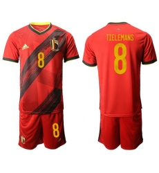Belgium #8 Tielemans Red Home Soccer Country Jersey