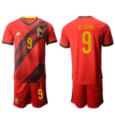 Belgium #9 R.Lukaku Red Home Soccer Country Jersey