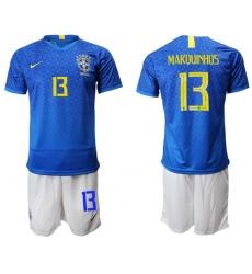 Brazil #13 Marquinhos Blue Soccer Country Jersey