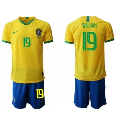 Brazil #19 Willian Home Soccer Country Jersey