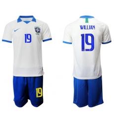Brazil #19 Willian White Soccer Country Jersey