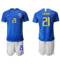 Brazil #21 Firmino Blue Soccer Country Jersey