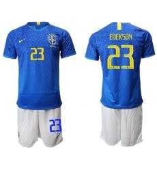 Brazil #23 Ederson Blue Soccer Country Jersey