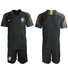 Brazil Blank Black Goalkeeper Soccer Country Jersey