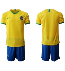 Brazil Blank Home Soccer Country Jersey