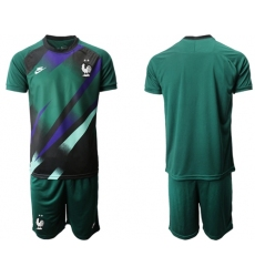 France Blank Green Goalkeeper Soccer Country Jersey
