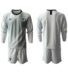 France Blank Grey Goalkeeper Long Sleeves Soccer Country Jersey