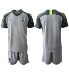 France Blank Grey Goalkeeper Soccer Country Jersey1
