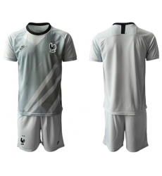 France Blank Grey Goalkeeper Soccer Country Jersey