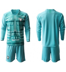 France Blank Light Blue Goalkeeper Long Sleeves Soccer Country Jersey