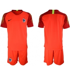 France Blank Red Goalkeeper Soccer Country Jersey1