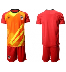 France Blank Red Goalkeeper Soccer Country Jersey