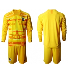 France Blank Yellow Goalkeeper Long Sleeves Soccer Country Jersey