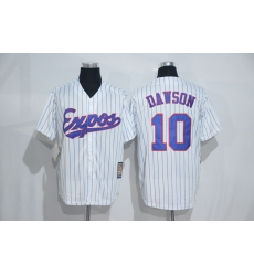 Mitchell And Ness Montreal Expos #10 Andre Dawson White Strip Throwback Stitched Baseball Jersey