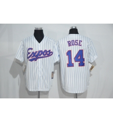 Mitchell And Ness Montreal Expos #14 Pete Rose White Strip Throwback Stitched Baseball Jersey