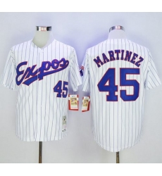 Mitchell And Ness 1982 Expos #45 Pedro Martinez White(Black Strip) Throwback Stitched Baseball Jersey