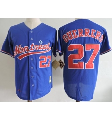 Mitchell And Ness 2004 Montreal Expos #27 Vladimir Guerrero Blue Throwback Stitched MLB Jersey