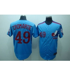 Mitchell and Ness Expos #49 Warren Cromartie Blue Stitched Throwback Baseball Jersey