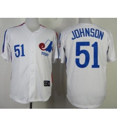 Mitchell And Ness Expos #51 Randy Johnson White Throwback Stitched Baseball Jersey
