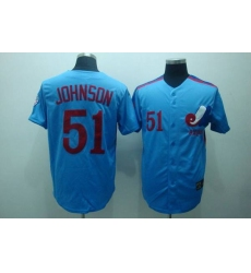 Mitchell and Ness Expos #51 Randy Johnson Blue Stitched Throwback Baseball Jersey