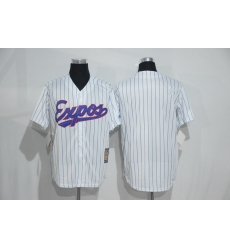 Mitchell And Ness Montreal Expos Blank White Strip Throwback Stitched Baseball Jersey