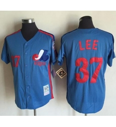 Mitchell And Ness Montreal Expos #37 Bill Lee Blue Throwback Stitched Baseball Jersey