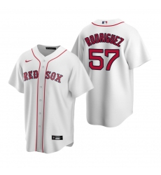 Men's Nike Boston Red Sox #57 Eduardo Rodriguez White Home Stitched Baseball Jersey