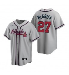 Men's Nike Atlanta Braves #27 Fred McGriff Gray Road Stitched Baseball Jersey