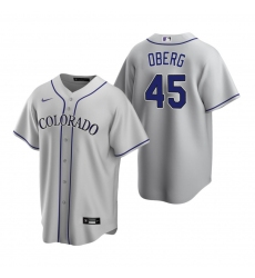 Men's Nike Colorado Rockies #45 Scott Oberg Gray Road Stitched Baseball Jersey