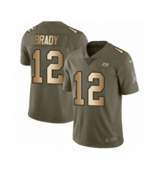 Men's Tampa Bay Buccaneers #12 Tom Brady Olive Gold Limited 2017 Salute To Service Jersey
