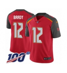 Men's Tampa Bay Buccaneers #12 Tom Brady Red Team Color Vapor Untouchable Limited Player 100th Season Football Jersey