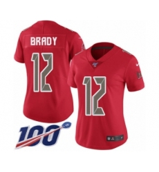 Women's Tampa Bay Buccaneers #12 Tom Brady Limited Red Rush Vapor Untouchable 100th Season Football Jersey